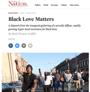 The Title says 'Black Love Matters. There are social media sharing buttons. There is an image of a group of Black men with fists raiseed walking down the street. One man with a backwards baseball cap and dreadlocks is riding a bike.