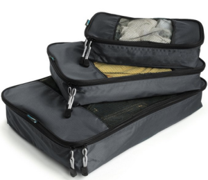 3 Black zippered polyester bags of increasing size