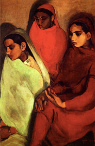 Three Indian Girls sit facing their right, looking down. One wears a mint green sari, one a red-orange sari, and one a blood red sari.