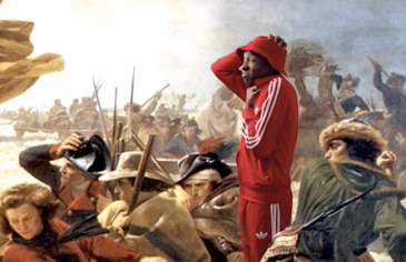 "Black man in red Kangol hat and red adidas track suit is standing in the midst of the Emanuel Gottlieb painting ""Washington Crosses the Delaware"". There are men in 18th century dress on a boat, preparing for battle."